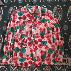 Penguin Red Green Watercolor Blouse Tie S Lovely